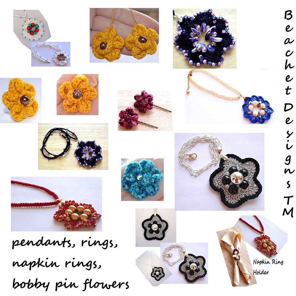 Crochet Jewelry Patterns Crochet Flower Ring Crochet Pendant