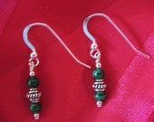green malachite and silver earrings