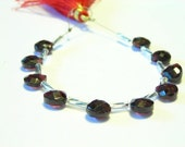 Garnet faceted flat hearts 6 pieces