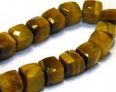 Tiger eye gemstone faceted cubes 4 beads