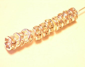 10 pcs 7mm QUALITY CLEAR crystal rondells