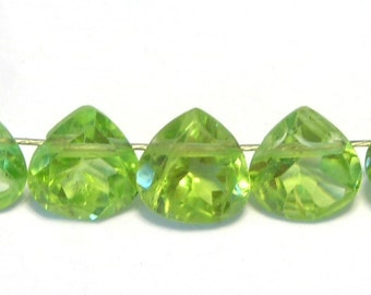 Peridot faceted ring cut hearts 6 pieces AAA luxe faceting tiny
