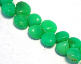 Chrysoprase top drilled flat hearts 6 pieces Australian