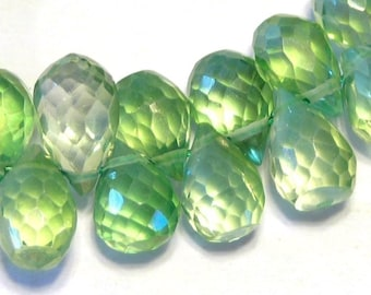 Mystic quartz finely faceted green briolettes 6 pieces