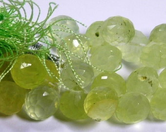 Prehnite gemstone candy kiss faceted onions 4 pieces