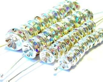 40 pcs QUALITY crystal AB rondells 5 6 7 8mm
