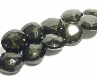 Black Spinel faceted gemstone heart briolettes 8 pieces