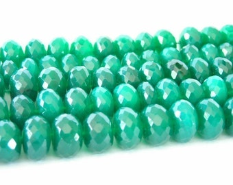Green onxy 8 faceted rondells AAA quality
