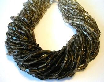"""Smoky Quartz shaded rectangular beads full 14"""" stand."""