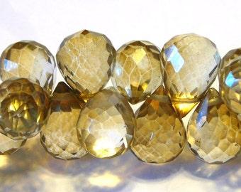 Mystic honey cognac quartz faceted drops 6 pieces