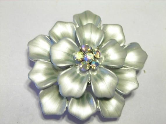 Vintage Style Brooch Pendant Finding enameled finish and Swarovski Crystals Sage Dhalia