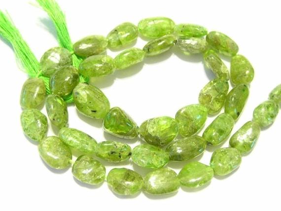 Peridot smooth pebbles 1 full strand