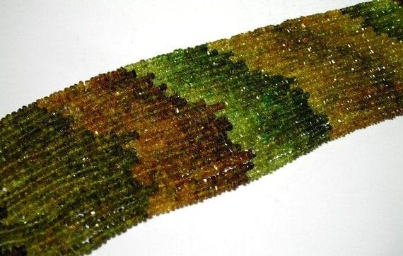 Petro tourmaline full strand faceted rondells autumn colors