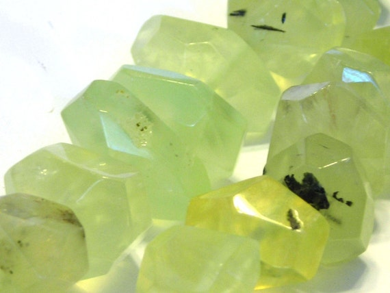 """Prehnite faceted side drilled nuggets 4"""" strand"""