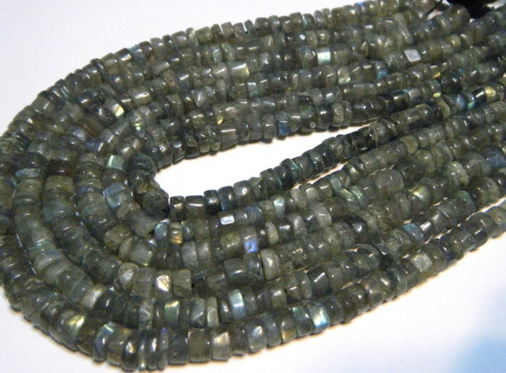 "Labradorite heishi beads whole 13"" strand larger size"
