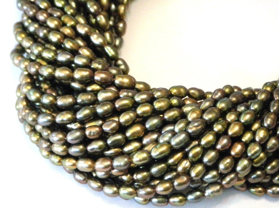 Peacock pearls bronze full strand rice shaped 5mm long