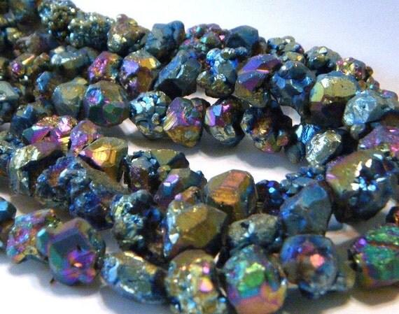 Druzy surface nuggets titanium coated Large size beads