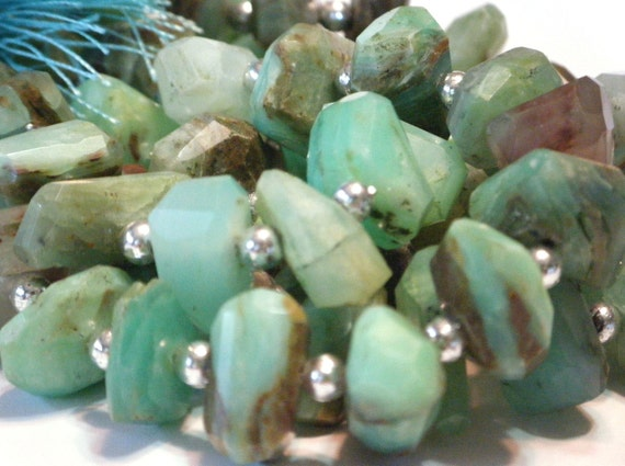 Peruvian opal faceted side drilled faceted nuggets gemstone beads WHOLE STRAND
