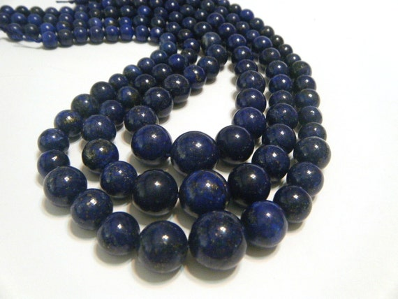 LAPIS graduated round bead strand 16in long