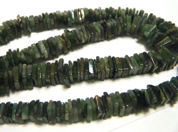 REAL EMERALD SQUARE heishi half strand newly marked down