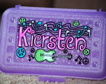 Personalized, hand painted, pencil box