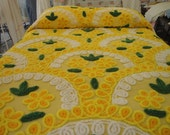 Chenille Bedspread / Excellent Condition / Bright Yellow Green White / Plush