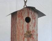 Wren Birdhouse - Red Barnwood with Clover Ornament