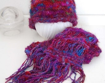 Knitted Silk and Wool blend Scarf and Hat Set SALE