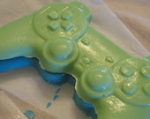 Sony PlayStation controller shaped chocolate candy in green