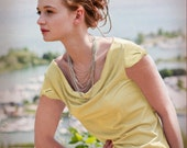 Josie Top - eco friendly cowl neck blouse with short bow sleeve detail in pale yellow daffodil - ready to ship - last one, size S