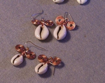 Cowrie and Copper Spiral Earrings