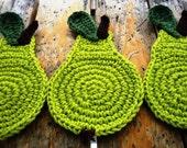 Crochet Green Pear Coasters (4pc)