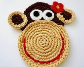 Crochet Monkey Coasters - Mr. and Mrs. Monkey