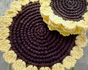 Sunflower Kitchen Decor - Crochet Sunflower Hot Pad - Flower Hot Pad - Sunflower PlaceMat - Mothers Day Gift - Gift for Grandma -