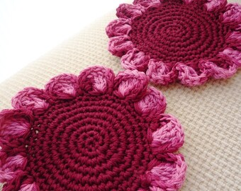 Crochet Flower Coasters - Burgundy Flower Coasters - Gift For Mom - Flower Drink Coasters - Gift for Grandma - Mothers Day Gift - Set of 2