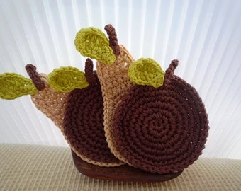 Crochet Apple and Pear Coasters - Cappuccino and Chocolate set of 4