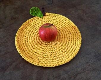Country Kitchen Decor - Crochet Yellow Apple Hot Pad - Apple Place Mat - Fruit Hot Pad - Apple Centerpiece - Farm home decor - Gift under 20