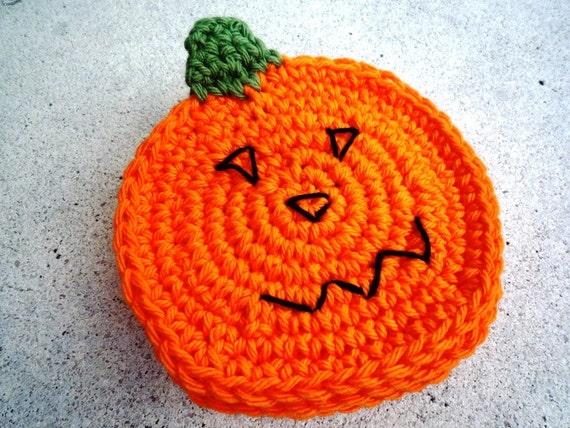 Crochet Halloween Coasters, Orange Pumpkin Coasters (4 pc) , Autumn Decor