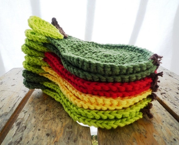 Crochet Pear Coasters, Fruit Coasters, Autumn Colors Coasters  (pick your six)