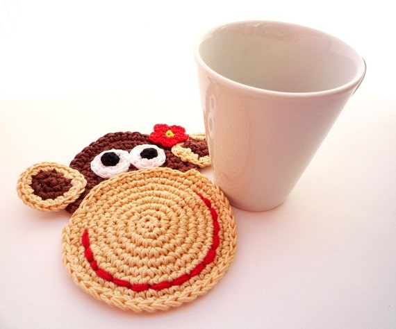 Crochet Monkey Pattern, Monkey Coaster, Monkey DIY