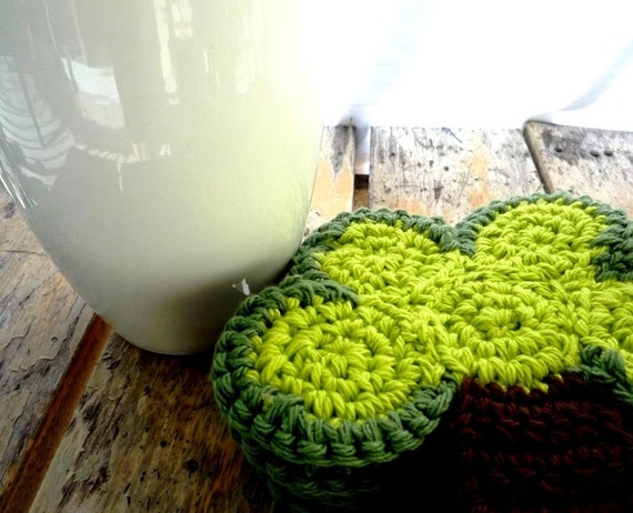Crochet Tree Coasters (4 pc)