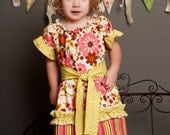 Single Ruffle Capris-Kiwi Lime Collection-Pink, Lime Green and Brown Flowers 0-6 mo, 6-12 mo, 12-24 mo, 2 3 4 5 6 8 10