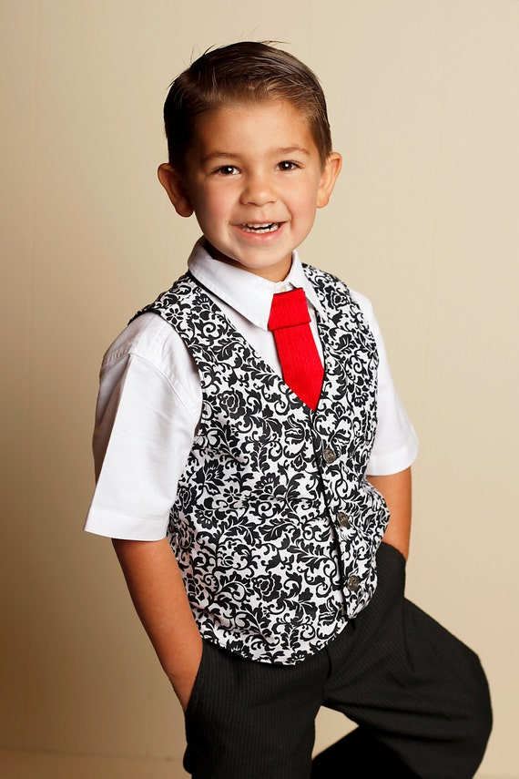 Christmas Holiday 2011 Joy Collection-Little Guy Reversible Vest-Black and White Damask