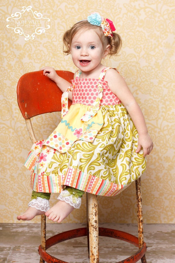 LAST ONE SALE-Boutique Knot Apron Dress-Summer Popsicle Collection-Bright Pink, Green and Blue-Sizes 6-12 mo, 12-18 mo, 2T 3T 4T 5 6 7 8