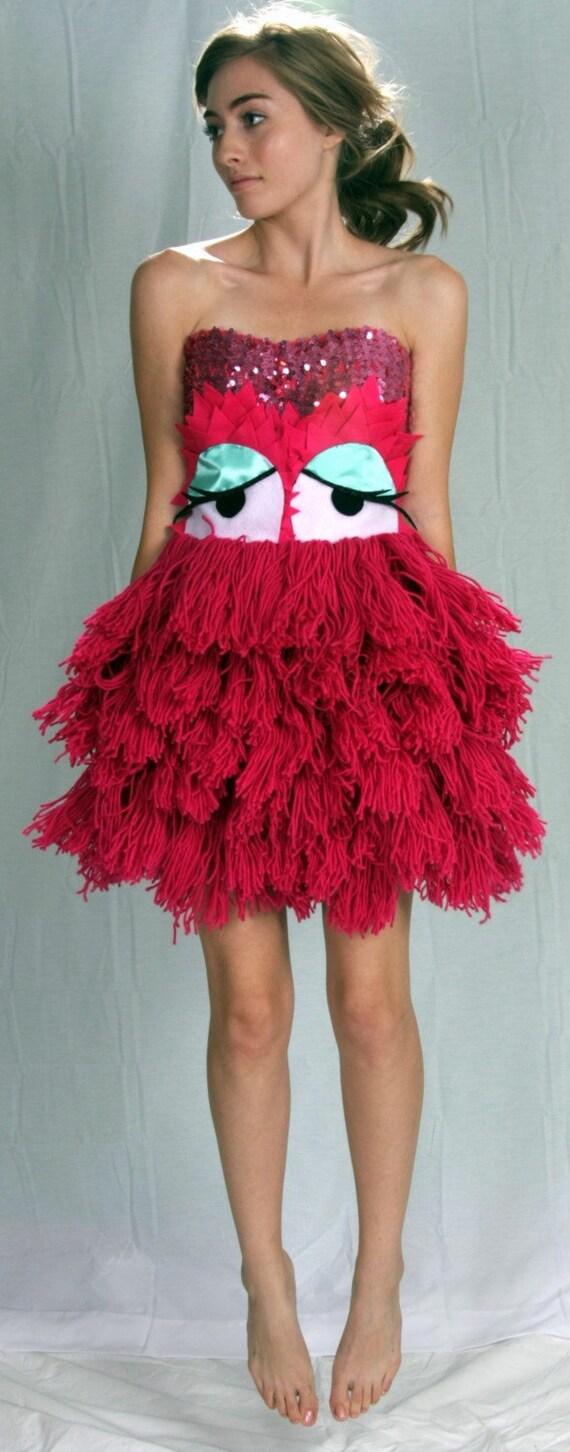 Hot Pink Sparkle Las Vegas Dress Yarn Monster With Big Googly