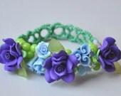 Purple Flowers - Polymer clay flowers and beaded bracelet