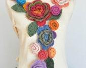 FLORAL  2011-  Crochet Multicolor 3D Flowers Scarf