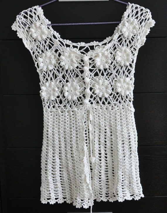 SALE  Crochet Cotton Yarn Summer Top/Tunic - Cream