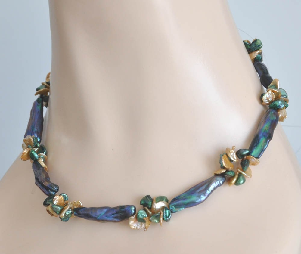 Keshi Pearl Necklace: Peacock Blue Keshi Pearls Necklace