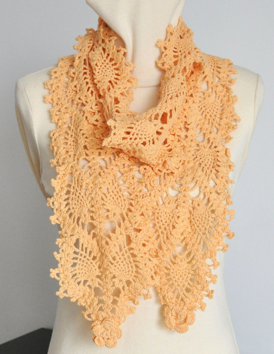 Crochet Patterns Lace Weight Yarn : ORANGE COTTON Pineapple Crochet Cotton Yarn Lace by jennysunny